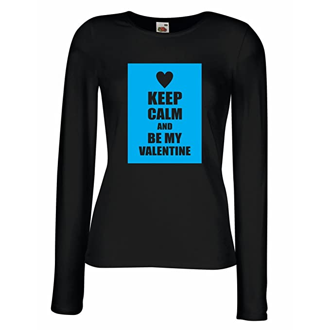 06aff6d51e6202 T Shirts for Women Long Sleeve Keep Calm and Be My Valentine - I Love You