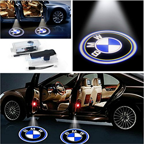 (AMINEY 2 Pcs Door Light Car Vehicle Ghost LED Courtesy Welcome Logo Light Lamp Shadow Projector For BMW, Easy Installation)