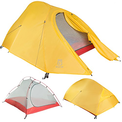 Ultralight 2 Person Tent (Bryce 2P Two Person Ultralight Tent and Footprint - Perfect for Backpacking, Kayaking, Camping and Bikepacking)