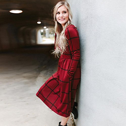 Kleid damen Kolylong® Frauen Elegant Karierte Rundhals Kleid Vintage Langarm Kleider Knielang Midikleid Festlich Skaterkleid Lässig Kleid mit taschen Bodycon Party Kleid Abendkleid Bluse Rot