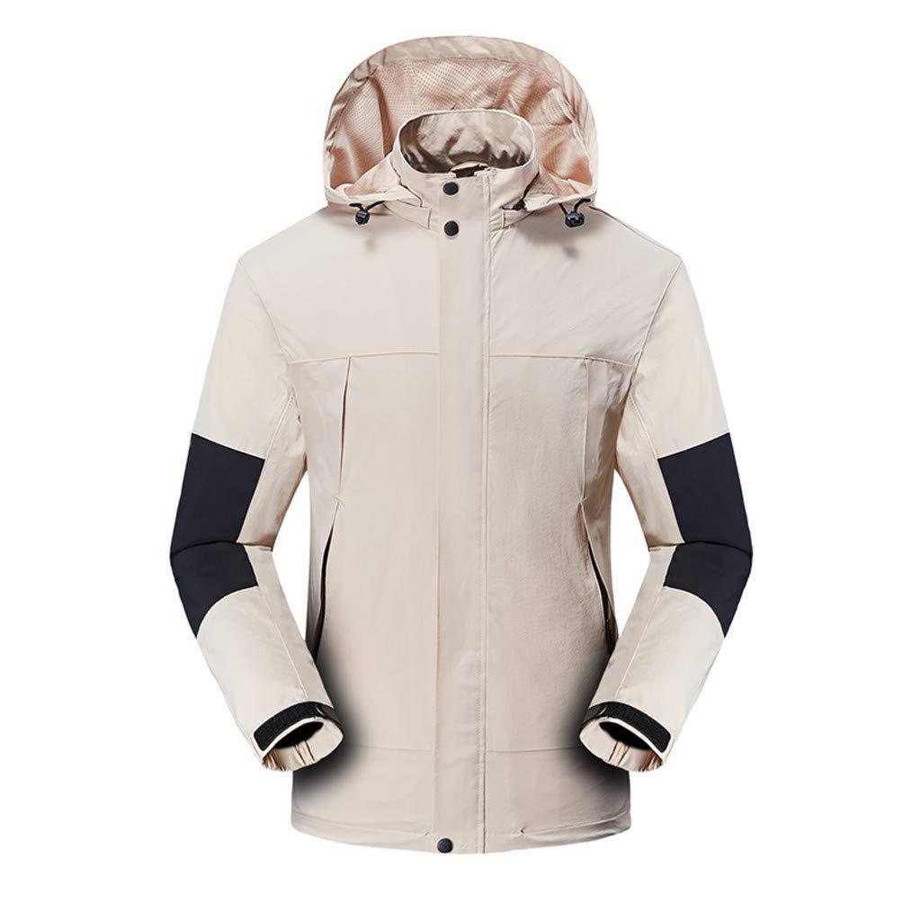 Hooded Jacket for Men Long Sleeve Splice Water Resistant Windbreaker Outdoor Sportswear (XL, Khaki) by Suoxo Men Tops