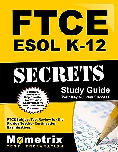 ftce esol k 12 secrets study guide ftce subject test review for the rh amazon com Exam Study Guide Book Exam Study Guide Brady Michael Morton