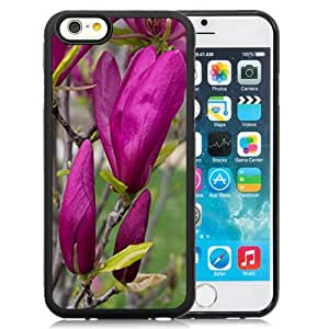 Fashionable Designed Cover Case For iPhone 6 4.7 Inch TPU With Purple Magnolia Buds Flower Mobile Wallpaper Phone Case