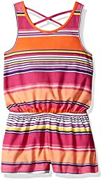 The Children\'s Place Big Girls\' Everyday Striped Romper, Rio Sunset, L (10/12)