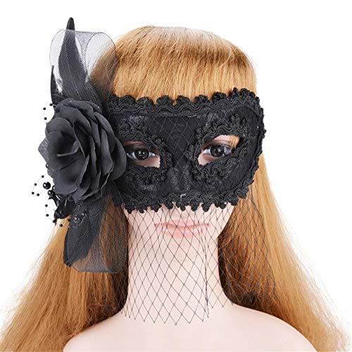 Bunny Girl Headband - Women 39 S Halloween Costume Lace Masquerade Flower Feather Mesh Veil Half Face Mask - Over Animal Gold Kids Pack Children Adult Blue Bulk Dinosaur Women Full Masks F ()