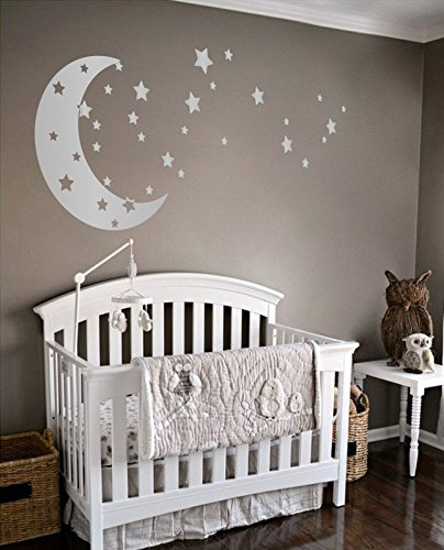 Moon and Stars Night Sky Vinyl Wall Art Decal Sticker Design for Nursery Room DIY Mural Decoration (Silver, 30x65 inches) ()