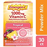 Emergen-C (30 Count, Tropical Flavor, 1 Month Supply) Dietary Supplement Fizzy Drink Mix with 1000mg Vitamin C, 0.32 Ounce Powder Packets, Caffeine Free