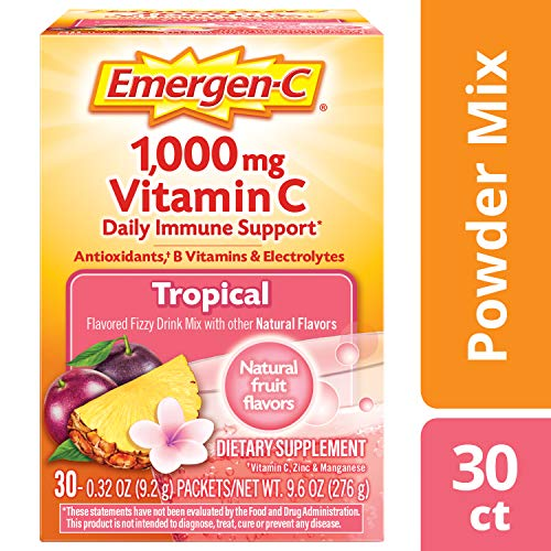 Emergen-C (30 Count, Tropical Flavor, 1 Month Supply) Dietary Supplement Fizzy Drink Mix with 1000mg Vitamin C, 0.32 Ounce Powder Packets, Caffeine - Punch Flavor Tropical