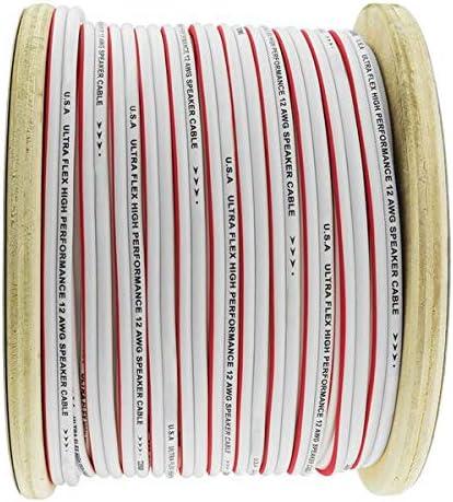 12 AWG GA 20FT Marine Grade Red White Speaker Wire OFC Ultra Flex