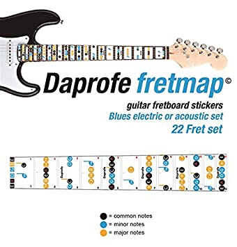 Daprofe Learn Guitar Blues Fret Note Fretboard Map Scales Removable Vinyl Stickers For Electric And Steel