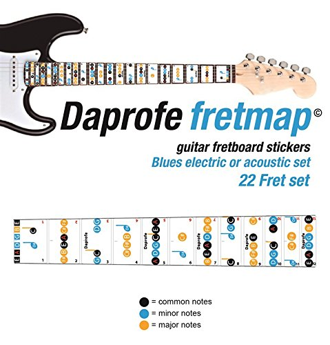 Daprofe Learn Guitar Blues Fret Note Fretboard Map Scales Removable Vinyl Stickers for Electric and Steel String Guitars