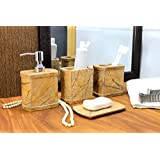 KLEO Bathroom Accessory Set Made from Natural Brown Stone - Bath Accessories Set of 4 Includes Soap Dispenser, Toothbrush Holder, Tumbler and Soap Dish