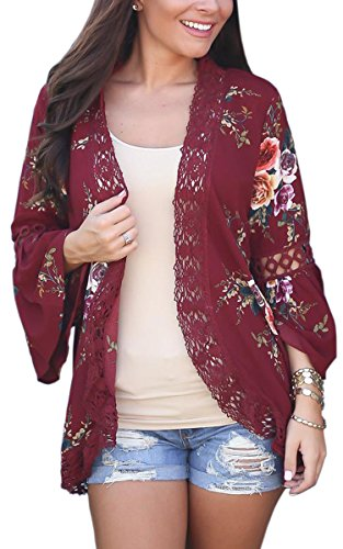 ECOWISH Womens Floral Print Loose Puff Sleeve Kimono Cardigan