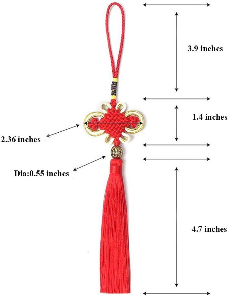 Rojo 10x 8.5 Pulgadas Hilo de Seda Hecho a Mano Nudo Chino Borla con Oro Satinado Seda Hecho Nudos Chinos para el Hogar y la Entrega de Coches Decoraci/ón