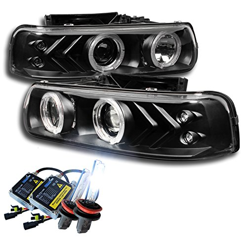 1999-2002 Chevy Silverado / 2000-2006 Suburban / Tahoe Halo LED Projector Headlights with 8000K HID Conversion Kit - Black -