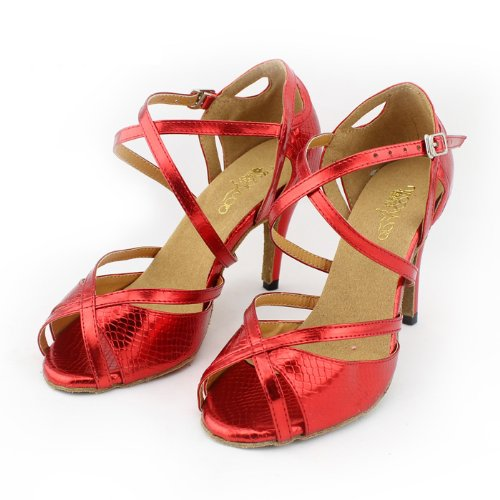 Abby Q-6028 Donna Scarpe Con Lustrini Ballroom Dance2.4 / 3.3 / 4flared Heel Shoes Red
