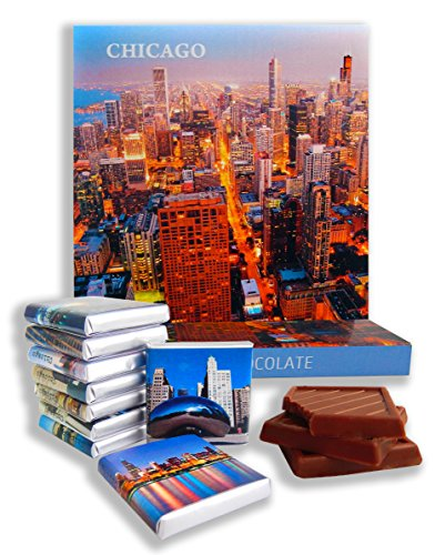 DA CHOCOLATE Candy Souvenir CHICAGO CITY Chocolate Gift Set 5x5in 1 box (Prime - River Illinois Oaks