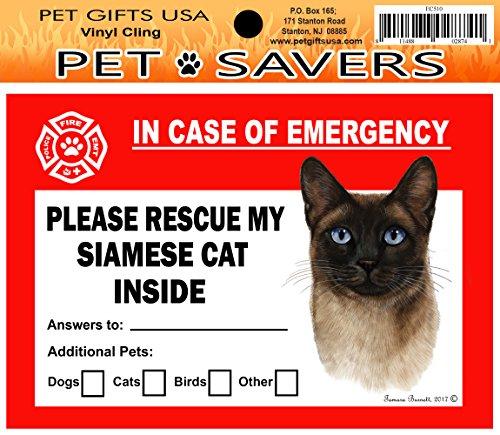 (Pet Savers Emergency Vinyl Cling (Cat-Siamese, Seal Pt))