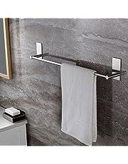 Self Adhesive Towel Bar, Ceinterau 70cm Bathroom Towel Rack Stick on Bath Towel Rail Holder No Drill, SUS 304 Stainless Steel
