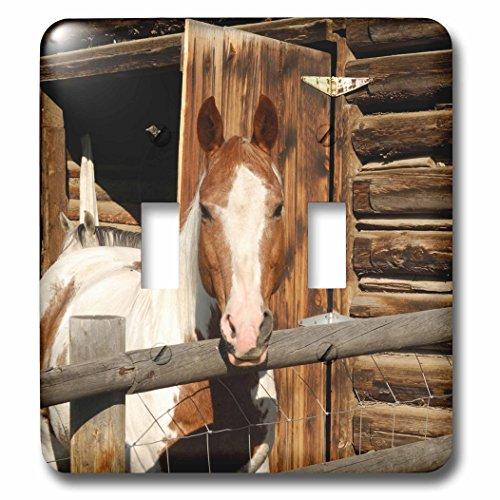 (3dRose lsp_90099_2 USA, Salmon, Idaho, Horses at Log Barn US13 GRE0049 Gerry Reynolds Double Toggle)