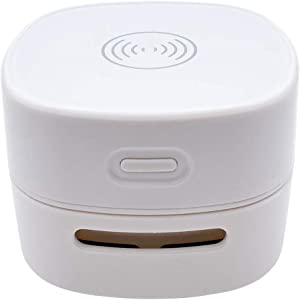 COTREE Portable Wirelss Desk Vacuum (White) - Mini Small Cute Table Cleaner Cordless Portable Handheld Wireless Charge Cell Phone
