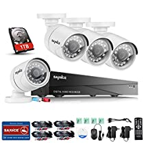 SANNCE 4CH 1080N Surveillance DVR Recorder with 1TB Hard Drive and (4) HD 720P Security Cameras, IP66 Weatherproof Housing