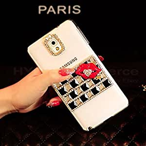 ACC5Star(TM) Fashion Top Luxury Bling Crystal Diamond Red Lip Clear Case for Samsung Galaxy S5 S4 S3 Note 3 Note 2 iphone 5S 5 4S 4 + High Quality Random Color Stylus + 10*15 Cm Green Soft Clean Cloth with Logo (For Samsung Galaxy S4 i9500, Black)