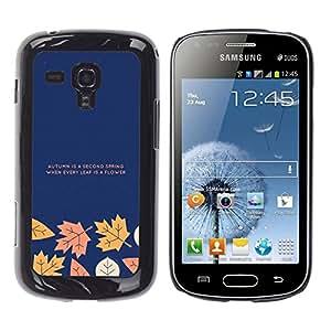 Qstar Arte & diseño plástico duro Fundas Cover Cubre Hard Case Cover para Samsung Galaxy S Duos / S7562 ( Autumn Fall Leaves Minimalist Text Blue Navy)