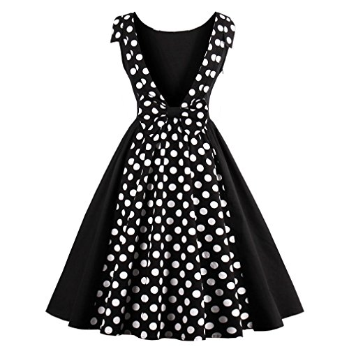 Las mujeres sexy Vestido Vintage 50s Hepburn Dress Dot Patchwork elegante vestido de verano Retro Fiesta Nocturna Casual Rockabilly Sin mangas Negro