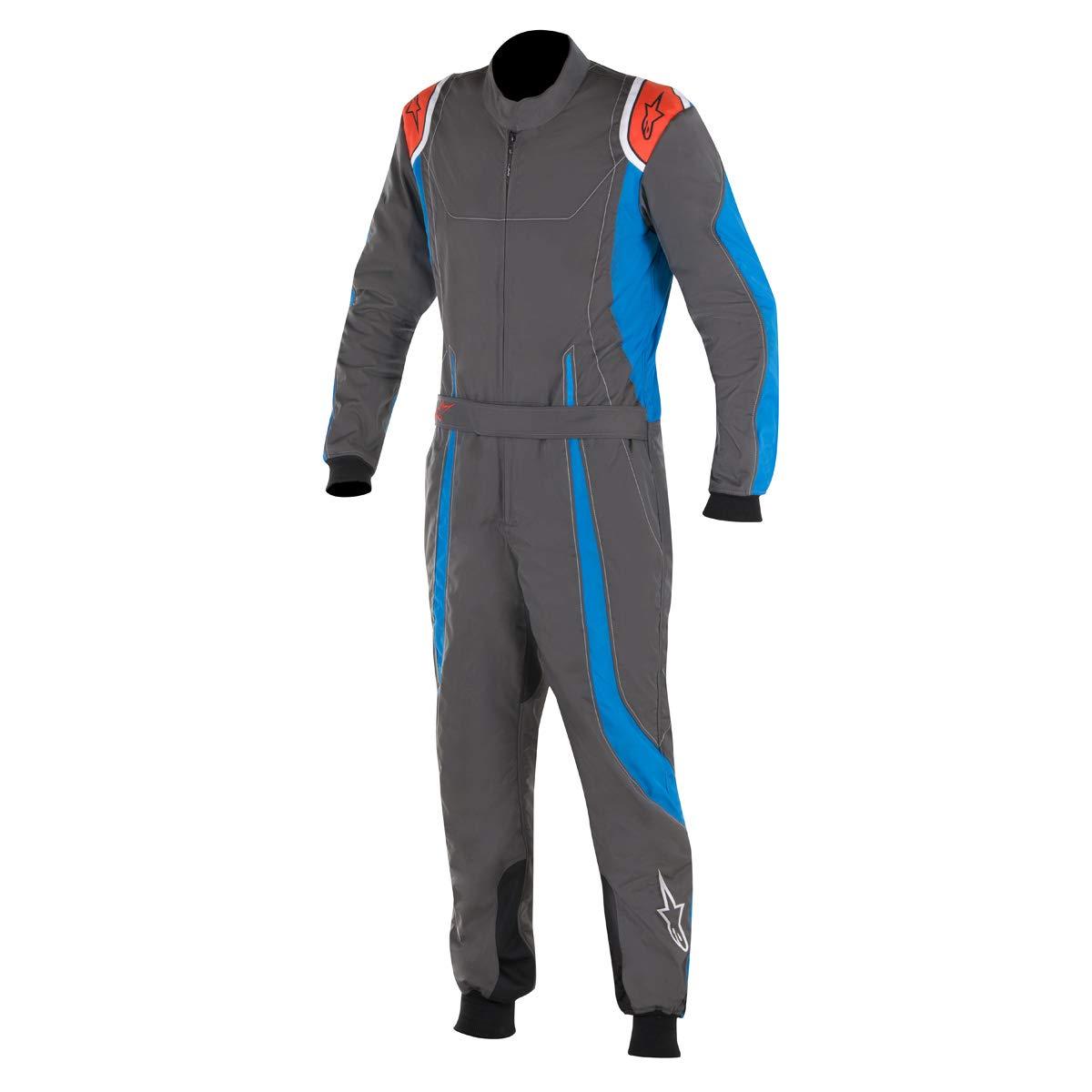 Alpinestars 3356017-1754-52 K-MX 9 Suit, Anthracite/Blue/Red Fluorescent, Size 52, CIK FIA Level 2, 3-Layer
