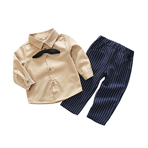 Khaki Combo - Newborn Baby Gentleman Suit 2pcs Long Sleeve Khaki Button-Down Shirt With Bowtie Pant Outfits Boys Clothes Set (2/3Year)