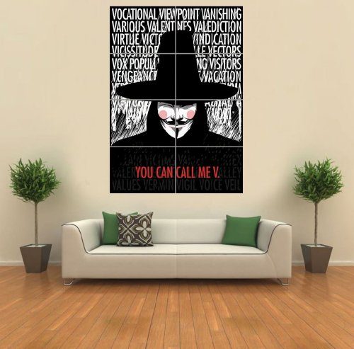V FOR VENDETTA TYPOGRAPHY QUOTES GIANT WALL ART PRINT PICTURE POSTER (V For Vendetta Makeup)
