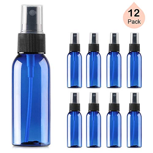 1oz. Small Empty Plastic Spray Bottles (12 Pack) with Fine Mist | Mini Leak Proof Travel Atomizer, Spritzer for Perfume, Cologne, Alcohol, Samples, Cleaning Solutions - BPA Free (Blue, 30ml)
