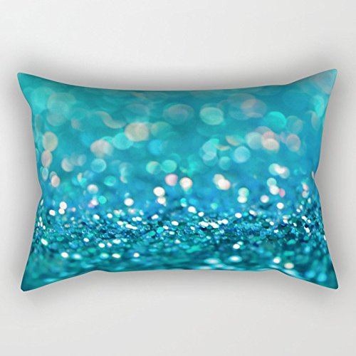 Newhomestyle Rectangular Throw Pillow Cover Aqua Turquoise Blue Shiny Glitter Print Effect Sparkle Luxury Backdrop Cotton Home Decor Square Cushion Pillowcase 12x20 - Bed Pillow Zurich
