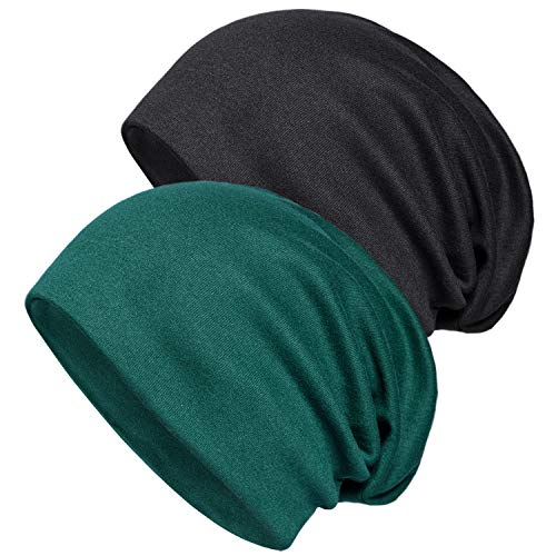 Cotton Beanie Stretch (2 Pack of Baggy Soft Cotton Slouchy Stretch Beanie Hat,Chemo hats for Men and Women, Black/Dark Green, One Size)