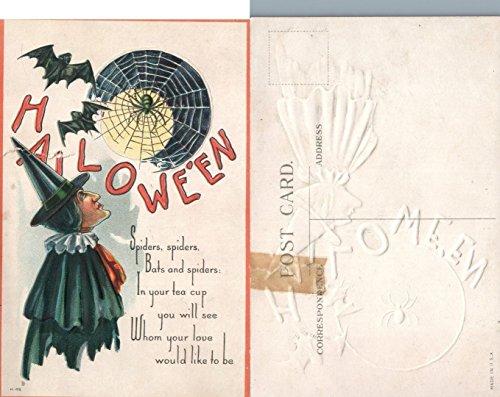 ANTIQUE EMBOSSED HALLOWEEN POSTCARD - SPIDERS & BATS (Spider Postcard)