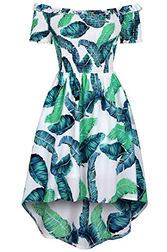 (MEROKEETY Women's Off Shoulder Short Sleeves Tropical Print High Low Hem A Line Skater Dress Green)