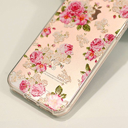 iPhone 5 5S SE Custodia , Leiai Moda Fiore Di Ciliegio Trasparente Clear Silicone Morbido TPU Cover Case Custodia per Apple iPhone 5 5S SE