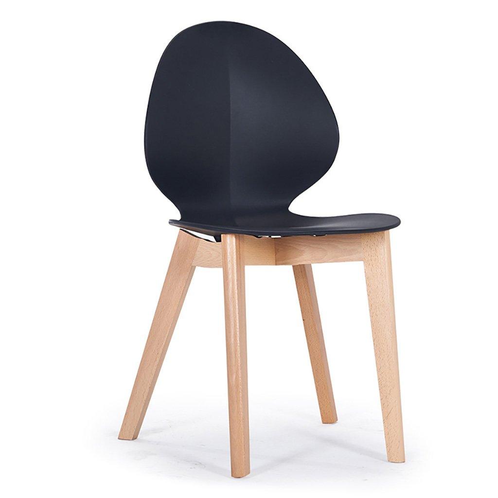 QRFDIAN Freizeitstuhl kreativer Esszimmerstuhl Moderner minimalistischer Massivholzstuhl Kunststoff-Coffee-Shop-Stuhl Eukalyptusbein Ledersitzstuhl (Farbe : SCHWARZ)