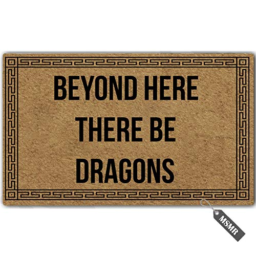 MsMr Funny Door Mat Entrance Floor Mat Beyond Here There Be Dragons Non-Slip Doormat Welcome Mat 23.6 inch by 15.7 inch Machine Washable Non-Woven Fabric
