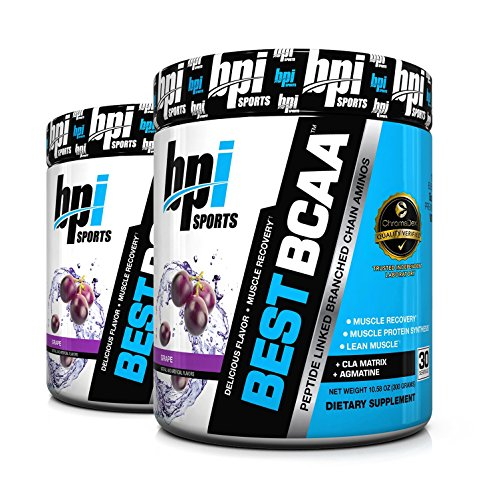 BPI Sports Best BCAA Peptide Linked Branched Chain Amino Energy Powder, 10.58oz, Pack of Two 30 Servings (Grape 2 x 30svg)