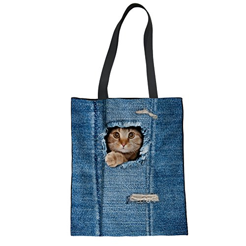 Hand Women Bag Showudesigns Linen Tote 4 Denim Blue Shoulder cat Girls Bag Animal 6FBOxBw