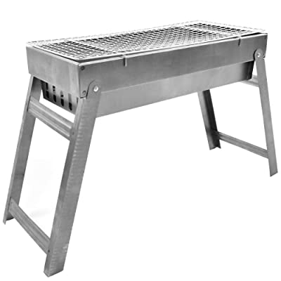 Stainless Steel Portable Folding Charcoal BBQ Grill, Charcoal and Wood for Fires, Suitable for Home Garden Backyard Party: Home & Kitchen