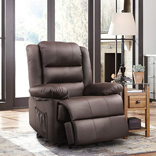 DEVAISE Dual-Motor Power Lift Recliner Chair for Elderly, Living Room Sofa Chair with Remote Control+USB Port, Faux Leather Upholstery, Dark Brown