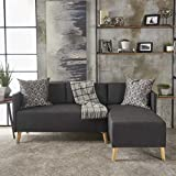 Andresen Mid Century Modern Muted Dark Grey Fabric Chaise Sectional For Sale