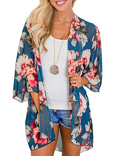 Womens Floral Print Kimono Cover Up Long Cardigan Sheer Loose Chiffon Blouse Tops Teal Blue Medium
