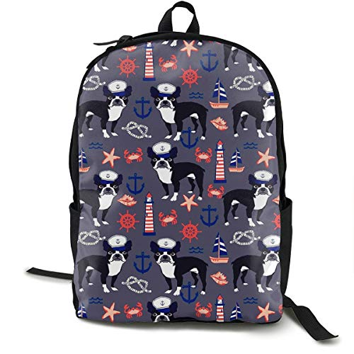 AHOOCUSTOM Durable Polyester Rucksacks Boston Terrier Seaman Pattern Travel Hiking Backpack for Men and Women
