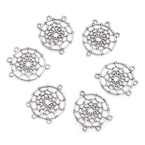 Beadthoven 20-Piece Antique Silver Tibetan Style Dreamcatcher Chandelier Component Links for Dangle Earring Making Jewelry Charms Home Decoration Supplies Lead Free Cadmium Free