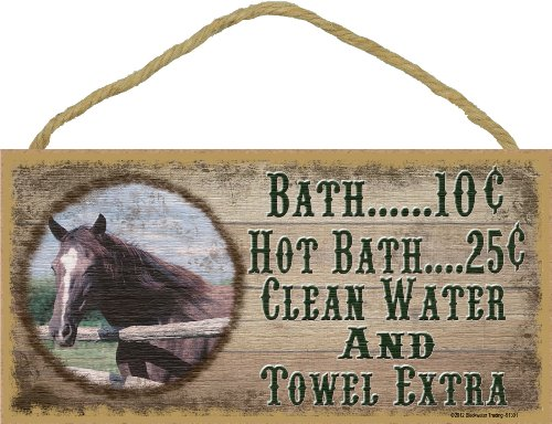 Western Horse Bath 10 Cent Clean Water Towel Extra Sign Plaque bath Decor ()