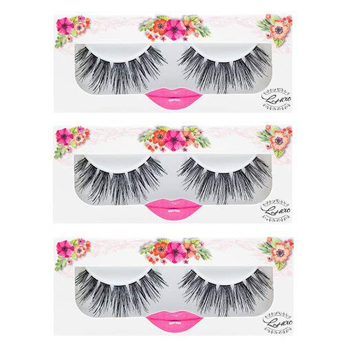 LashXO Lashes- Venus Vibe-3 PK Premium Quality False Eyelashes- Compare to brand Make Up Lashes, Mac Lashes and House of Lashes Fake Eyelashes